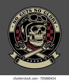 Vintage Biker Skull With Crossed Monkey Wrenches Emblem