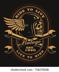 Vintage Biker skull with crossed wrenches on dark background. All elements and text is on the separate layer.