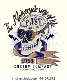 Vintage Biker skull illustration.