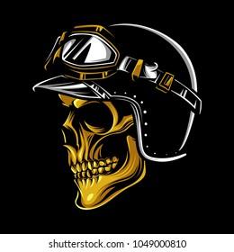 Vintage biker skull logo emblem