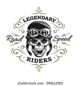 Vintage Biker Skull, t-shirt prints, emblems.