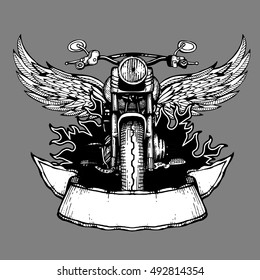 Vintage biker vector label, emblem, logo, badge with motorcycle. Motorbike with wings illustration