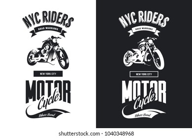 Vintage bikers club black and white isolated vector t-shirt logo. Premium quality motorcycle logotype tee-shirt emblem illustration. New York City road warriors street wear hipster tee print design.