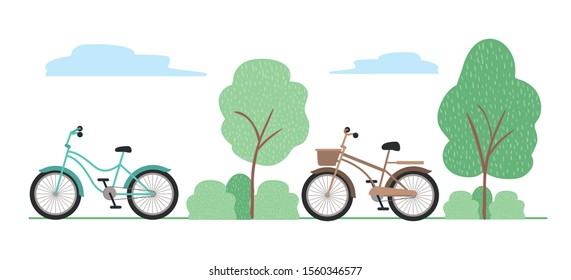 Vintage bikes design, Vehicle bicycle cycle lifestyle sport and transportation theme Vector illustration