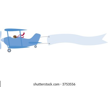 A vintage biplane pulls a banner ready for your message. Fully editable vector illustration.
