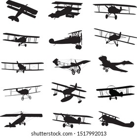 Vintage biplanes detailed silhouettes collection. Vector EPS 10