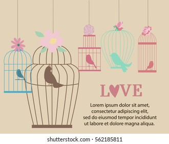 Vintage bird cages and flowers. Love you or Valentine's day card. Vector illustration