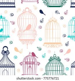 Vintage bird cages pattern