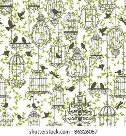 Vintage birds and birdcages collection. Pattern. Wallpaper.