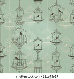 Vintage birds and birdcages. Pattern. Wallpaper.