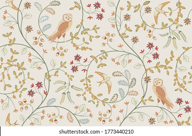 Vintage birds in foliage with flowers seamless pattern on light background. Middle ages William Morris style. Vector illustration.