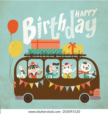 Vintage Birthday Card Stock Vektorgrafik Lizenzfrei 203091520