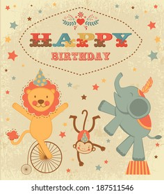Vintage birthday card with circus animals