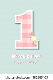 Vintage Birthday card, For first birthday, Number one. for girl