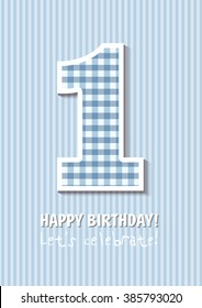 Vintage Birthday card, For first birthday, Number one. blue background. for boy
