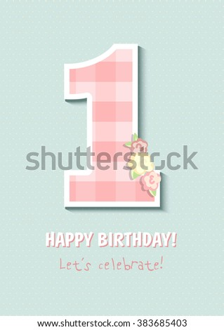 Vintage Birthday Card First Birthday Number Stock Vector Royalty