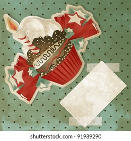 Vintage birthday card with funny cupcake and copy space