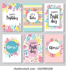 Vintage birthday cards design collection with abstract flowers and hand-written text. Set of beautiful greeting cards in the Doodle style.