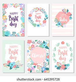 Vintage birthday cards design set with abstract flowers and hand-written text. Collection of beautiful greeting cards in the Doodle style.
