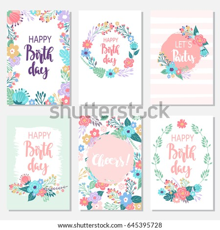Vintage Birthday Cards Design Set With Abstract Flowers And Hand Written Text Collection Of