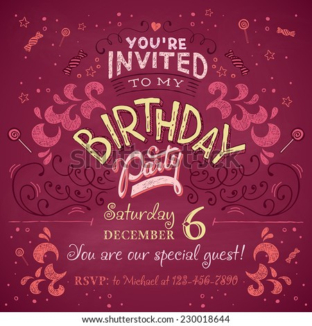 Vintage Birthday Party Invitation Card Design Stock Vektorgrafik
