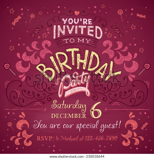 Vintage Birthday Party Invitation Card Design Stock Vector