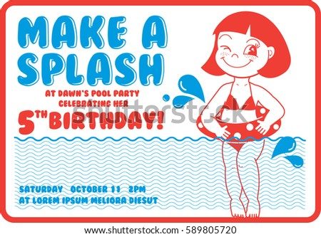 vintage birthday pool party invitation card stock vector royalty