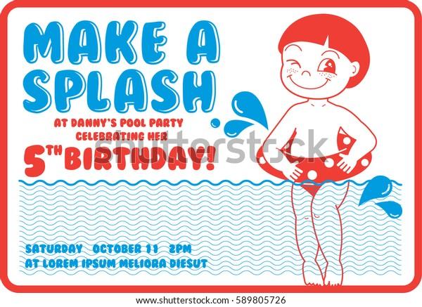 Vintage Birthday Pool Party Invitation Card Stock Vector