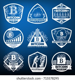 Vintage bitcoin currency labels set with payment network server computer hardware coins clouds mining graphs on blue background isolated vector illustration