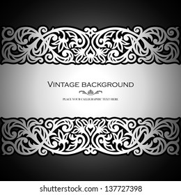 Vintage black background, antique, victorian silver ornament, baroque frame, beautiful old paper, card, ornate cover page, label; floral luxury ornamental pattern template for design