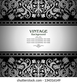Vintage black background, floral antique card, victorian silver ornament, baroque frame, beautiful, luxury, old decor, royal, ornate cover page, summer and spring style pattern template for design