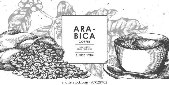 Vintage Black Coffee and Coffee bean in sackcloth by pen ink sketch drawing technique.Vector and illustration.