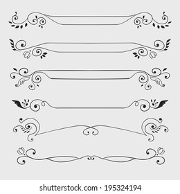 Vintage black curl text dividers isolated on white. Vector illustration