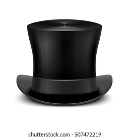 Vintage black gentleman top hat isolated on white