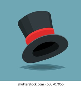 Vintage black gentleman top hat ith red stripe isolated on blue background. Vector flat design cloth illustration