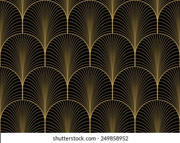 Vintage black and gold seamless art deco wallpaper pattern vector
