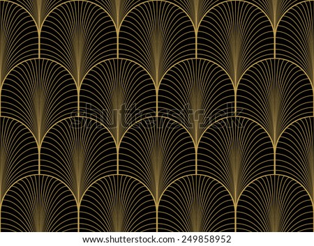 Vintage Black Gold Seamless Art Deco Stock Vector Royalty Free