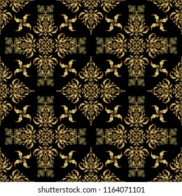 Vintage black and golden pattern. Oriental vector classic pattern. Abstract seamless pattern with golden repeating elements on black background.