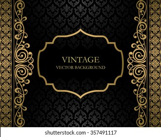 Vintage black and golden vector background