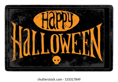 The vintage black Happy Halloween card with skull