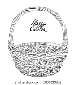 vintage black lined Easter basket for eggs. Spring celebration. Easter holiday scenes wicker basket. Vector isolated picnic withe basket on white background.eps8