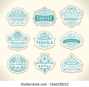 Vintage black logos and emblems set. Flourishes jewelry crest. Calligraphic monogram letters. Floral royal whiskey design. Vector luxury frames, restaurant, boutique, heraldic, cafe, hotel