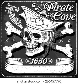 6f67a931 Vintage Black Pirate Cove Flag Blackboard. Jolly Roger. Vintage Blackboard  Logo Set Tatoo.