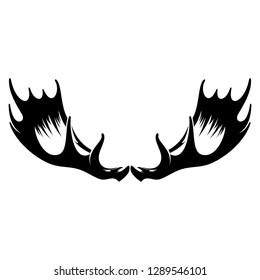 Vintage black silhouette hand drawn deer horn, antler. Design elements of deer. Wildlife hunters, hipster icon