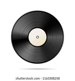 Vintage black vinyl disc template isolated on white
