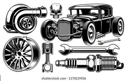 Vintage black and white design elements of car repair. Isolated on white background.