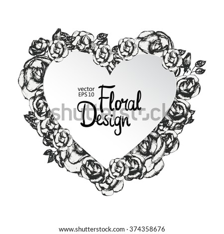 Vintage Black White Heart Shaped Frame Stock Vector (Royalty Free ...