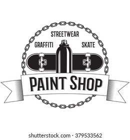 Vintage black and white logo with Spray, Skateboard, Chains. Ribbons.