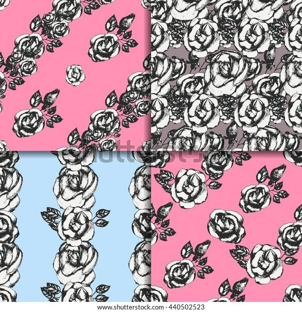 Vintage black and white rose patterns