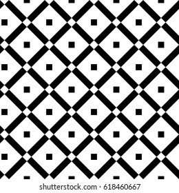 Vintage black and white seamless pattern with simple geometric shapes. Check line greed background. Endless vector texture for wallpaper, wrapping paper, background, surface texture, pattern fill